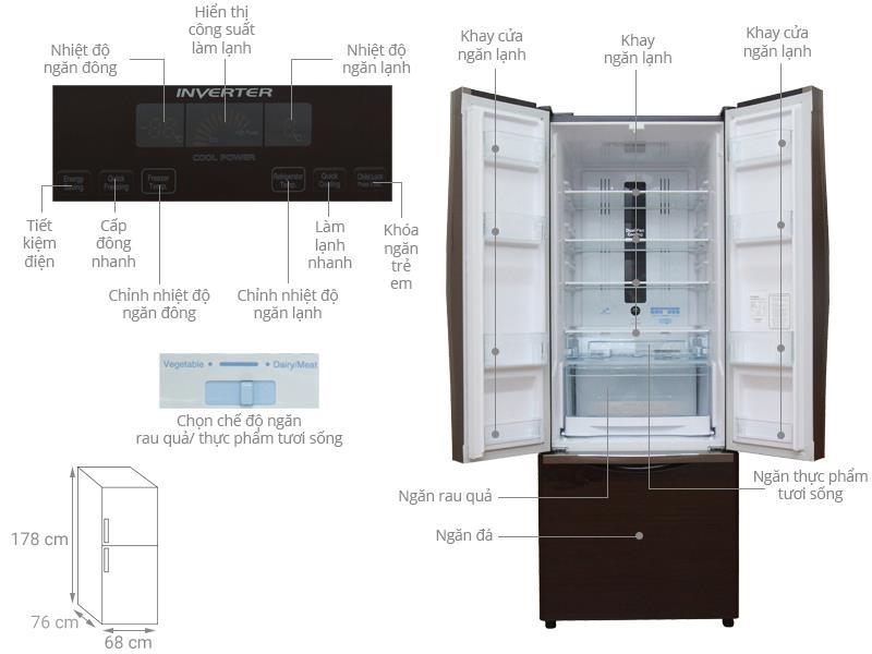 Tủ lạnh Hitachi R-FWB475PGV2 (GBK/GBW) 405 lít