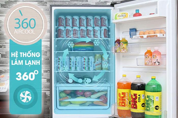 Tủ lạnh Electrolux EBE3500AG có hệ thống làm lạnh 360 độ đem lại sự phân bố luồng khí lạnh đều khắp tủ. Từ đó mọi thực phẩm sẽ được làm lạnh tối ưu và hiệu quả nhất