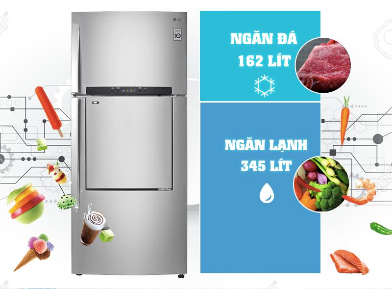 Tủ lạnh LG 512 lít GN-L702SD không những có phần vỏ được làm từ thép không gỉ mà các khay của tủ đều được làm từ kính chịu lực cao cấp, độ bền cao