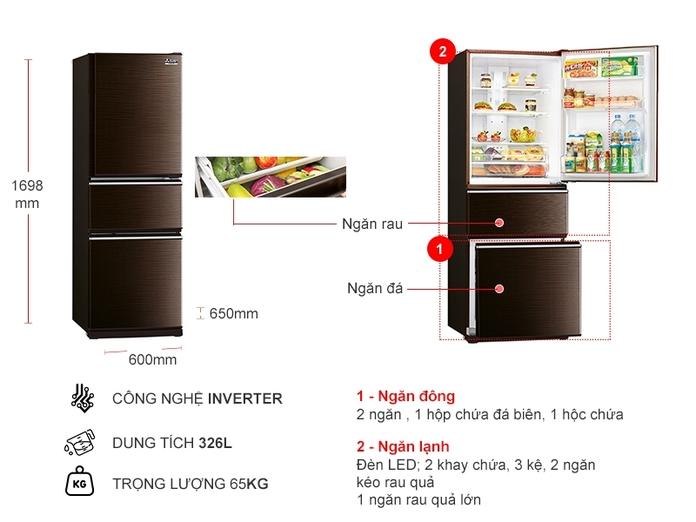 Tủ lạnh Mitsubishi MR-CX41EJ-BRW-V 326 lít Inverter