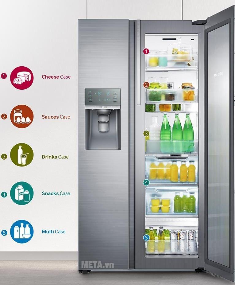 : Tủ lạnh Samsung được thiết kế với hệ thống khay kệ thông minh