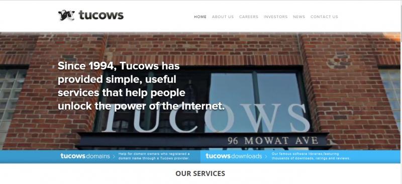 Giao diện trang web Tucows.com