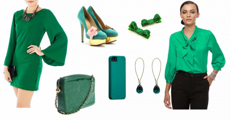 Bộ trang phục kèm phụ kiện màu xanh lá đậm phù hợp với người tuổi Tý
