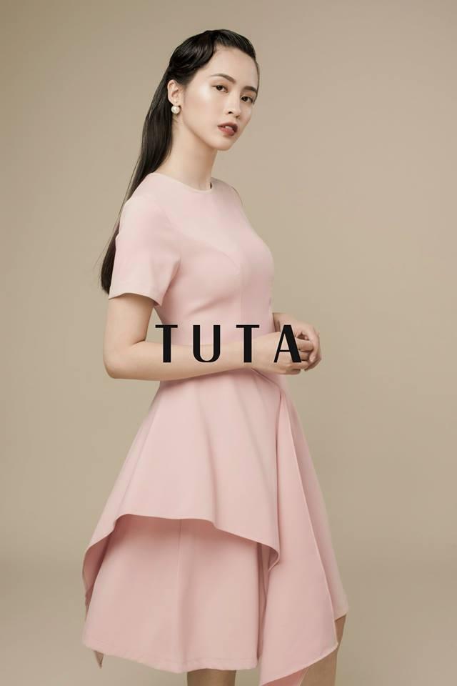 Đầm hồng xếp tầng