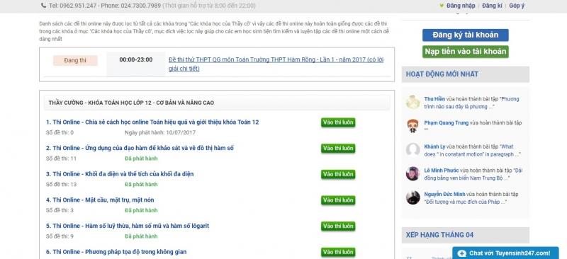 Lịch phát hành đề thi online của Tuyensinh247.com