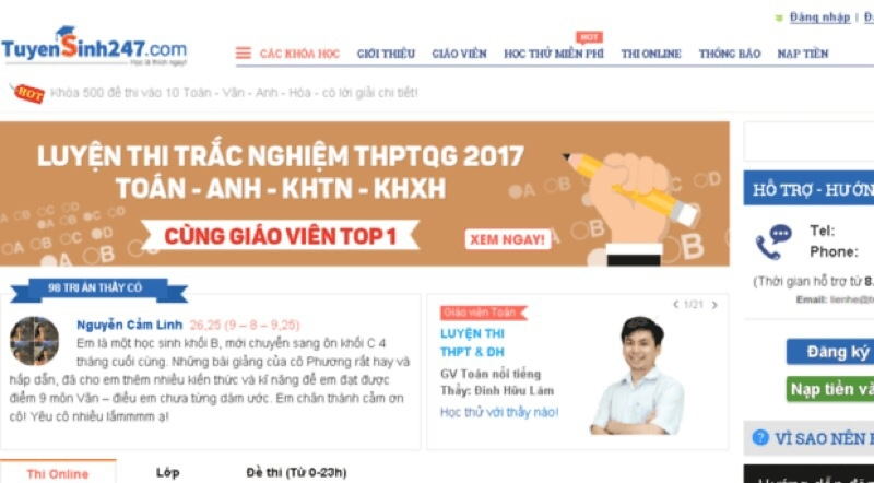 Website luyện thi đại học Tuyensinh247.com