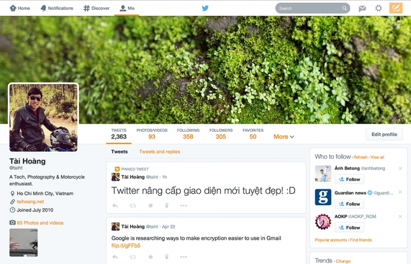 Giao diện mới của Twitter