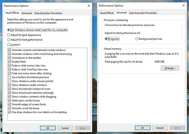 Chọn phần Adjust for best performance để giúp Windows 10 nhanh hơn
