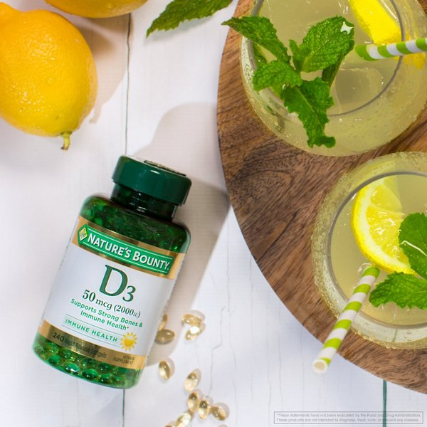 Viên Uống Bổ Sung Vitamin D3 5000IU Nature's Bounty hỗ trợ hệ xương khớp và răng chắc khỏe.