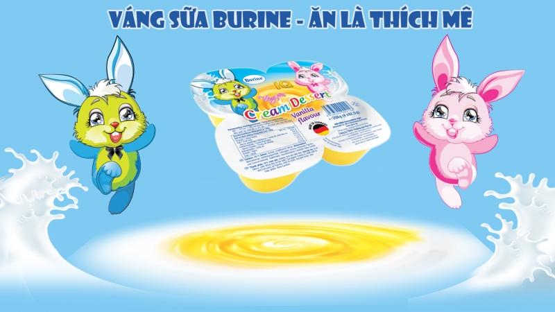 Váng sữa Burine được sản xuất từ nguồn sữa tươi tiệt trùng chất lượng nhất