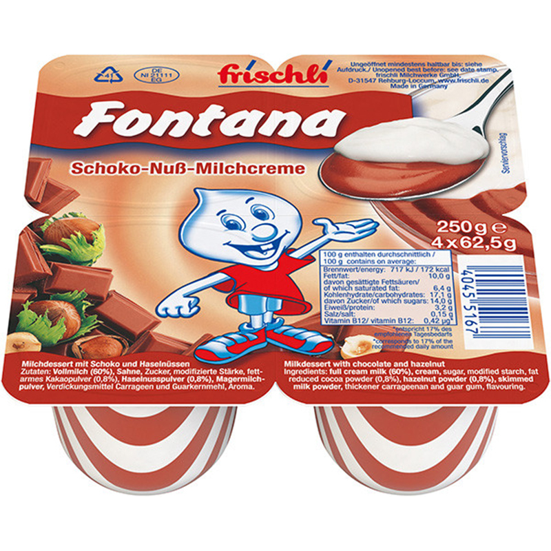Váng sữa Fontana với thành phần chứa hàm lượng chất béo cao