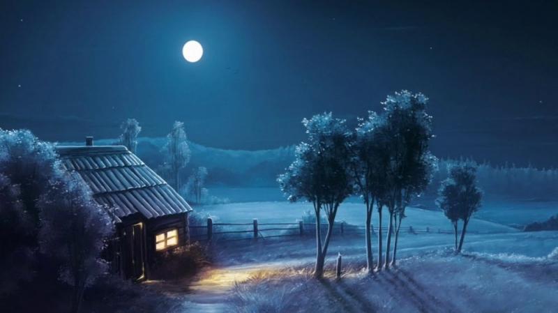 Làng quê chìm dần vào giấc ngủ, chỉ có vấng trăng vẫn ung dung đứng gác.