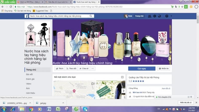 Trang facebook của cửa hàng Nước Hoa Xách Tay Hàng Hiệu Chính Hãng Hải Phòng.
