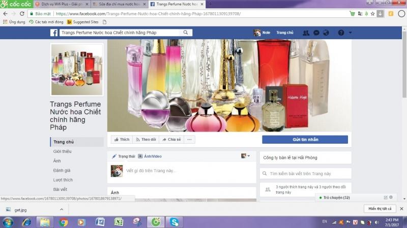 Trang facebook của cửa hàng Trangs Perfume.