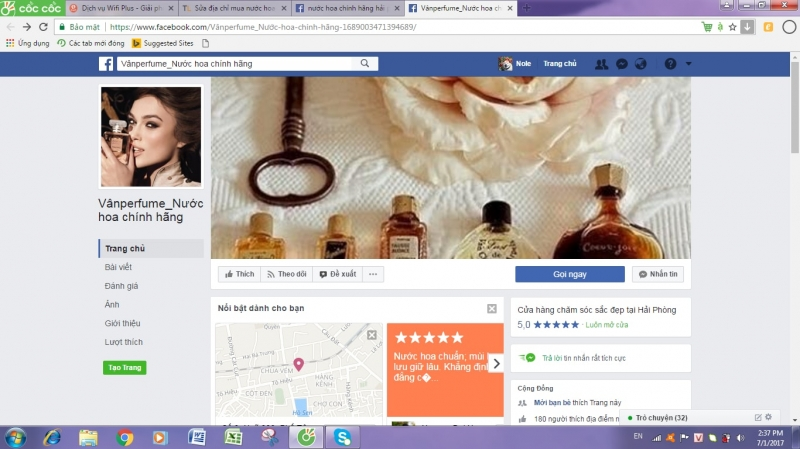 Trang facebook của cửa hàng Vânperfume.