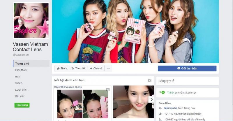 Facebook của Vassen Vietnam Contact Lens
