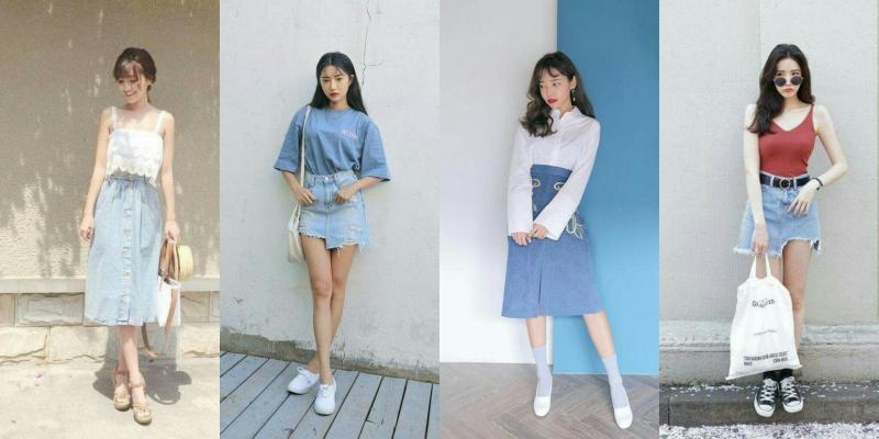 Váy jean dáng dài phối với áo hai dây ren quyến rũ (ảnh đầu tiên)