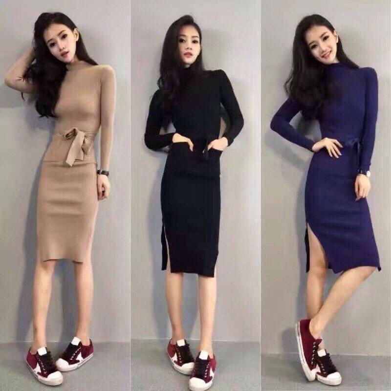 Váy len body xẻ đùi hot trend mới của Tết 2018