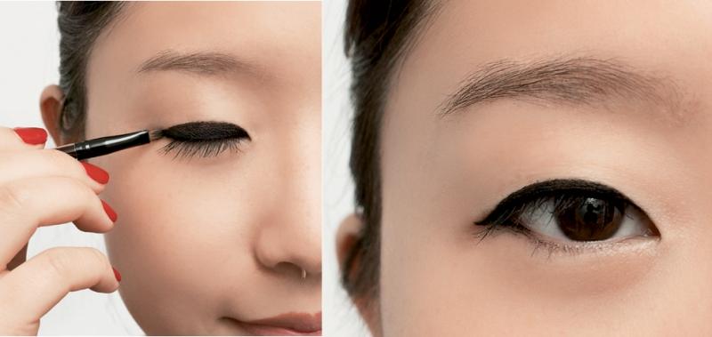 Vẽ đường eyeliner dày với mắt một mí