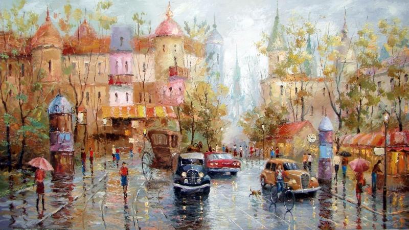 Vẽ một bức tranh về cảnh mưa