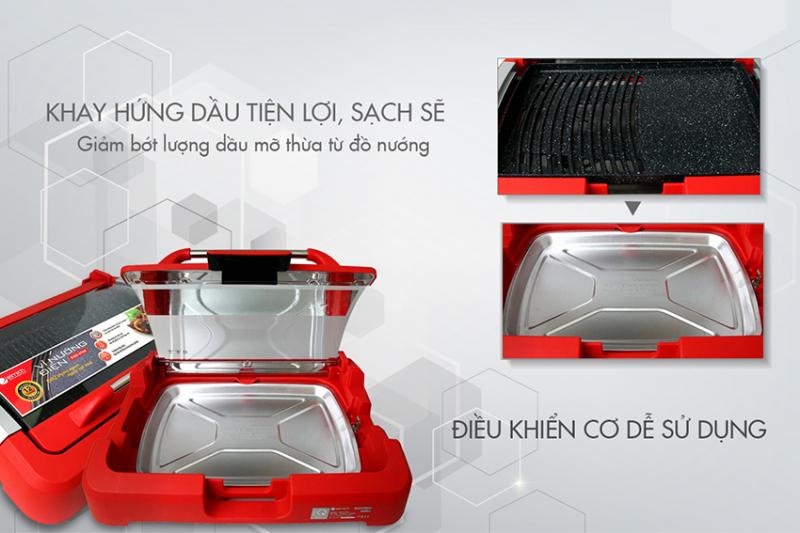 Vỉ nướng điện EGE-0704 của Elmich được thiết kế theo công nghệ hiện đại Châu Âu, bề mặt vỉ nướng được tráng 3 lớp chống dính Ceramic (vân đá tự nhiên), an toàn cho sức khỏe người dùng.