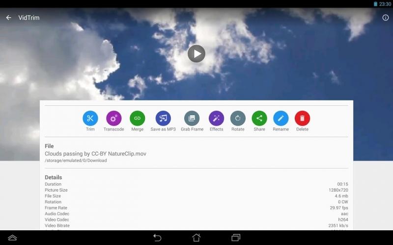 Giao diện VidTrim trên Android