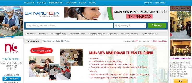 Website của Việc làm Đà Nẵng