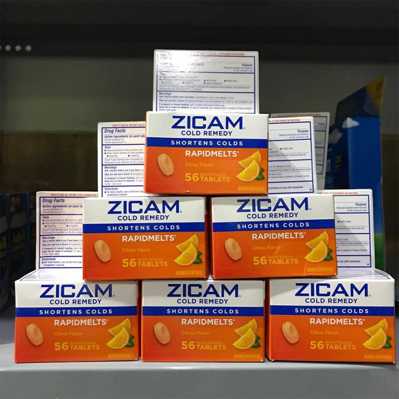 Viên ngậm vị cam hỗ trợ trị nhanh hết ho cảm lạnh Zicam Cold Remedy Rapidmelts 56 viên