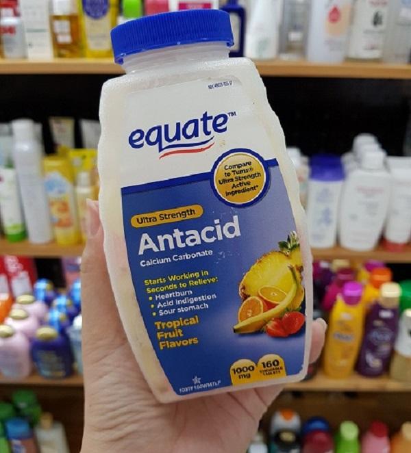 Viên nhai hỗ trợ dạ dày Equate Ultra Strength Antacid 1000mg 160 viên (hương vị trái cây hỗn hợp)