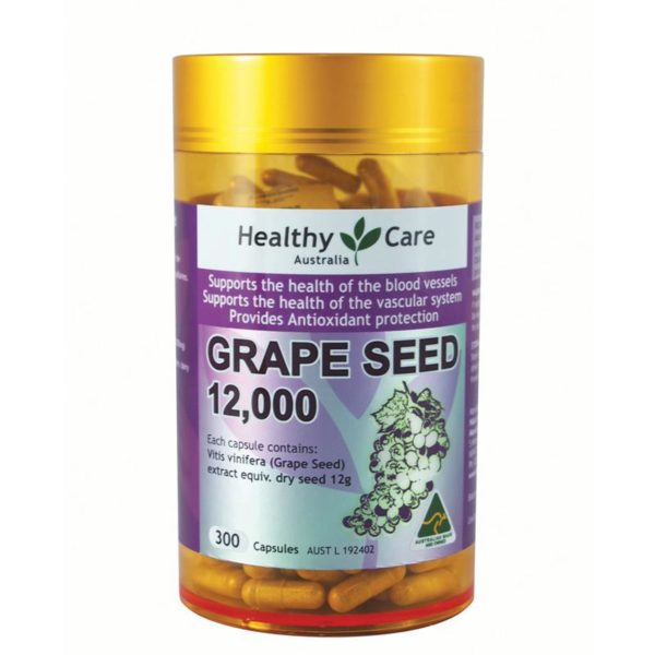 Viên Uống Tinh Chất Nho Healthy Care Grape Seed Extract 12000 Gold Jar 300 Capsules