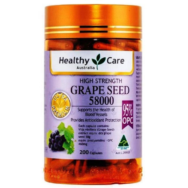 Viên uống bổ máu tinh chất hạt nho Healthy Care Grape Seed 58000