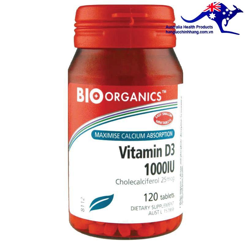 Viên Uống Bổ Sung Vitamin D3 1000IU của Bio-Organics 120 viên