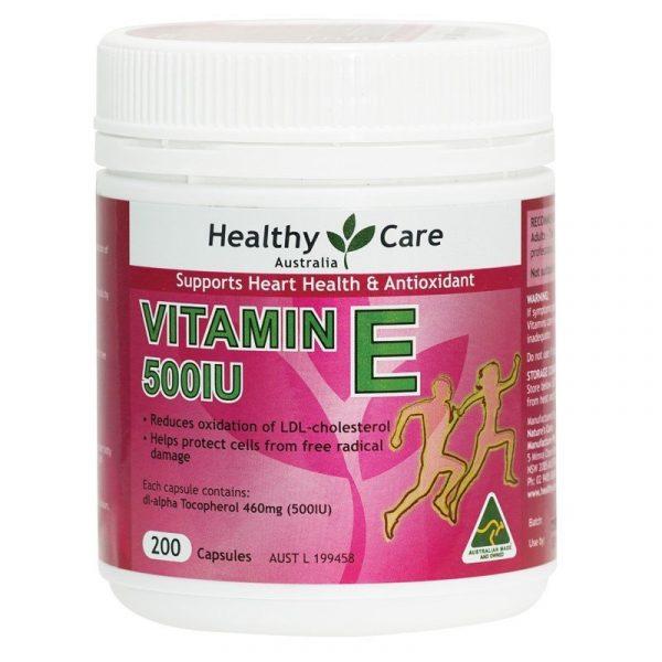 Viên uống bổ tim và chống lão hóa Healthy Care Vitamin E 500IU: