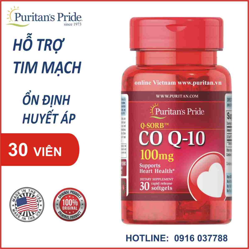 Viên uống chống lão hóa cho da, đẹp da, hỗ trợ tim mạch giảm cholesterol Puritan's Pride Q-Sorb Co Q-10