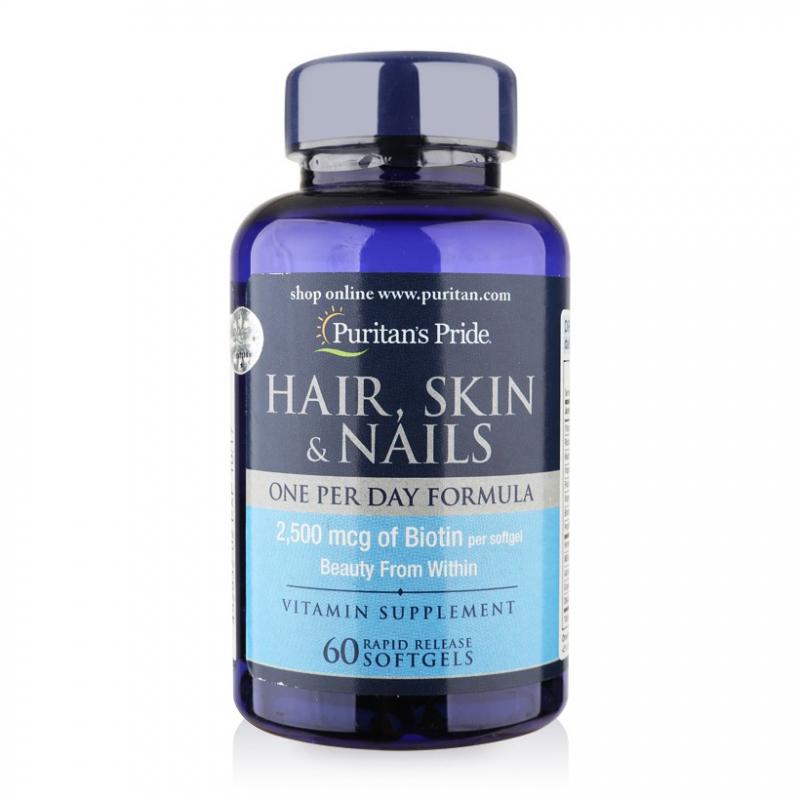 Viên uống đẹp da tóc móng Puritan's Pride Hair, Skin & Nails 60 viên