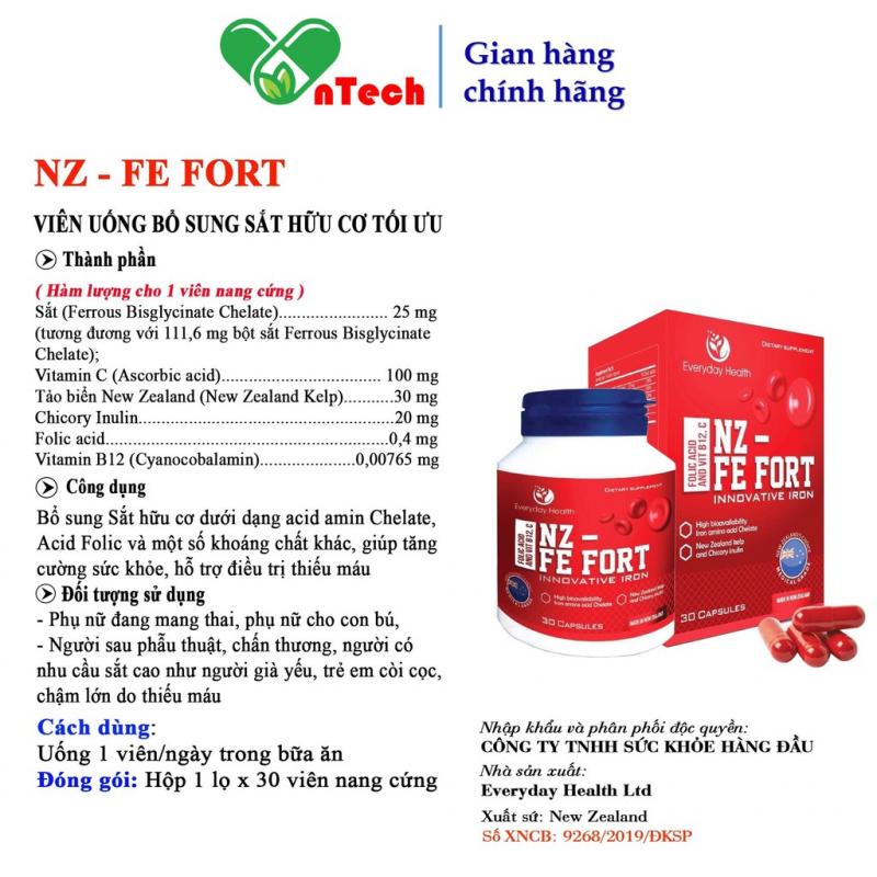 Viên uống Everyday Health NZ - FE FORT