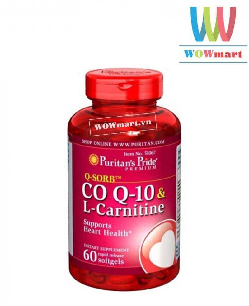 Viên uống ngăn ngừa nhồi máu cơ tim Puritan's Pride Coq10 và L-Carnitine