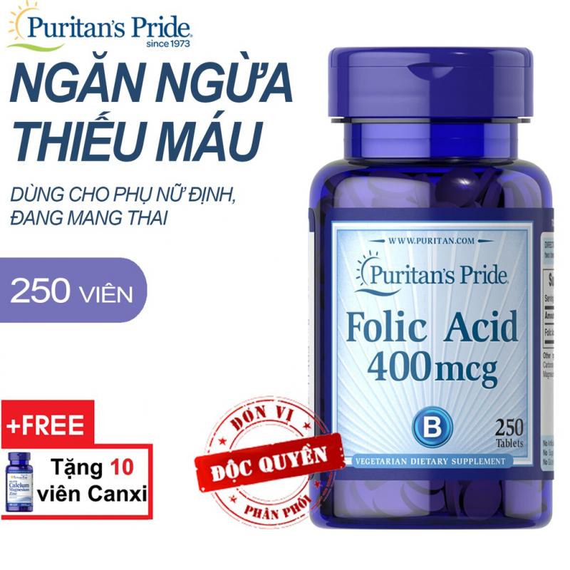 Viên uống ngăn ngừa thiếu máu Puritan's Pride Folic Acid 400mcg