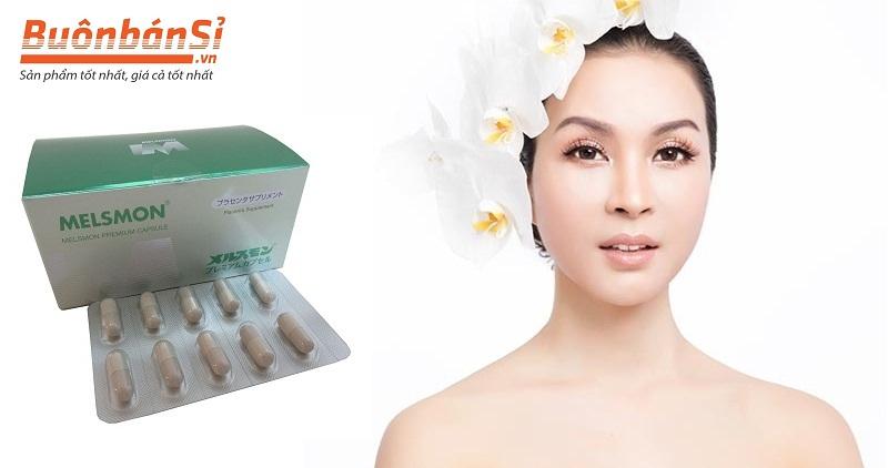 Viên Uống Nhau Thai Melsmon Premium Capsule:  Tái tạo tế bào da, giúp da căng mịn, sáng hồng và trẻ hóa, kích thích tăng sinh collagen và elastin tự thân, tăng sức đàn hồi cho da.