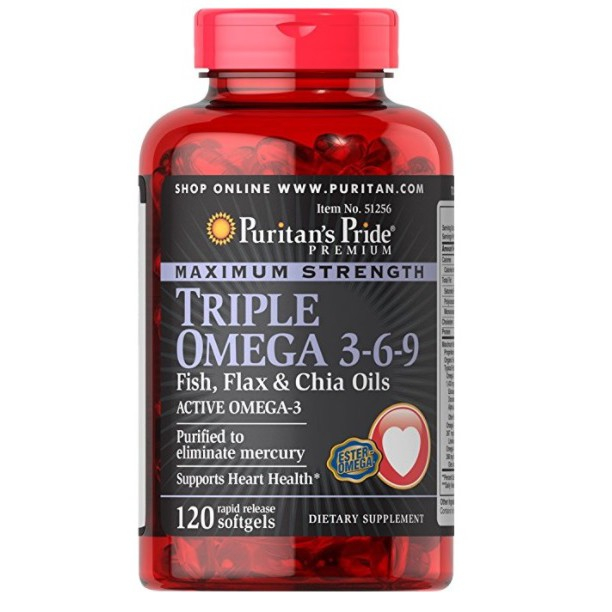 Viên uống tăng cường hệ miễn dịch, ngừa bệnh tim mạch đẹp da Puritan's Pride Triple Omega 3-6-9 1