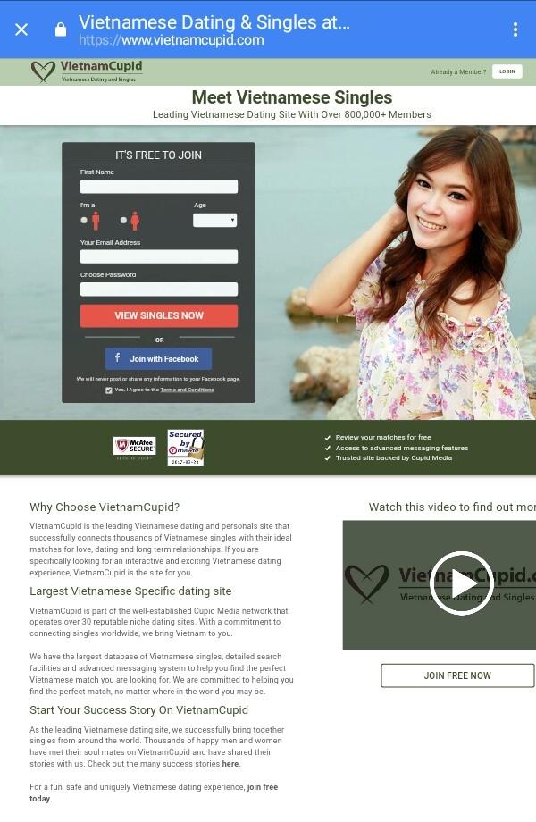 Vietnamcupid. com là một trong những trang web hẹn hò và mai mối chuyên nghiệp nhất Việt Nam