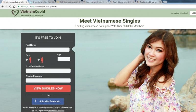 Bước đầu tiên khi muốn tham gia vietnamcupid.com là đăng ký thành viên