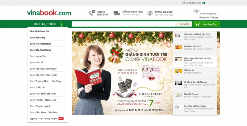 Giao diện website của Vinabook