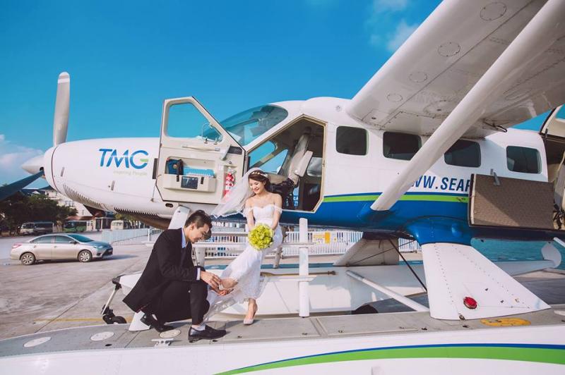 Chụp ảnh cưới với thủy phi cơ ở Hạ Long