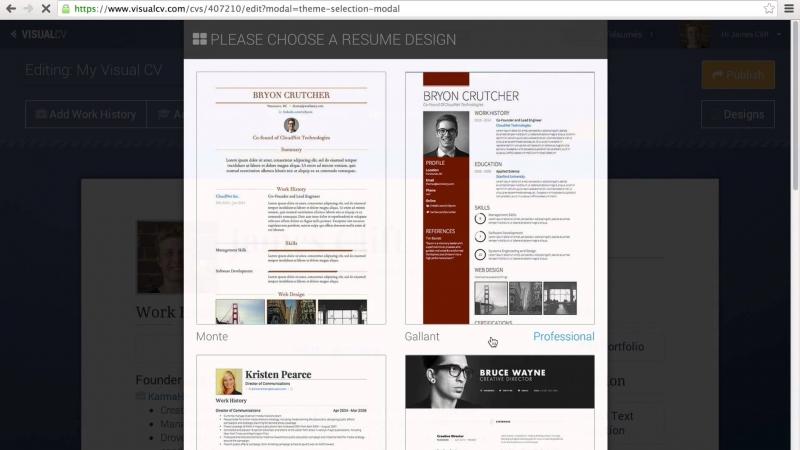 Mẫu CV của Visual CV