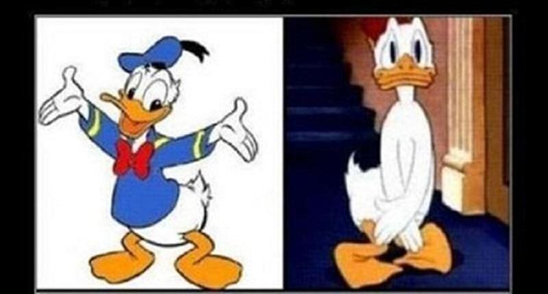Vịt Donald che chắn chỗ bình thường không mặc gì