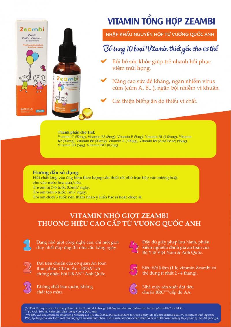 Vitamin tổng hợp Zeambi từ Anh Quốc