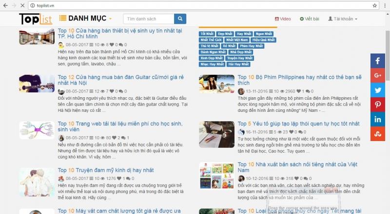 Toplist luôn khẳng định uy tín và thương hiệu Việt Nam với tên miền .vn