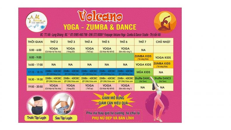 Lịch tập tại Volcano Yoga - Zumba & Dance Studio