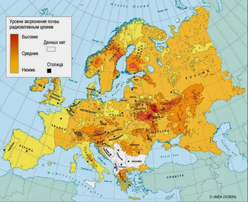 Phạm vi ảnh hưởng của vụ nổ hạt nhân ở Chernobyl